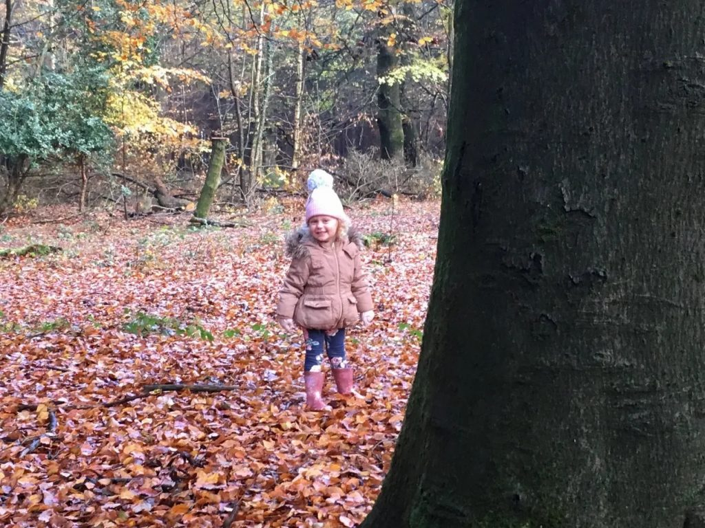 girl near tree standing on autumn leaves